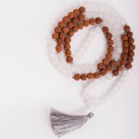 Mala of Force and Strength Rock Crystal and Rudraksha, Band stretchable