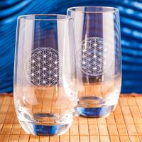 Drinking Glasses Flower of Life 2 pcs. with 7 Swarovski crystals