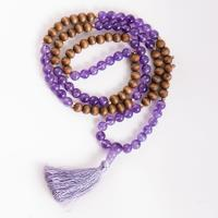 Mala of intuition in jewelry box Amethyst and pine, volume elastic