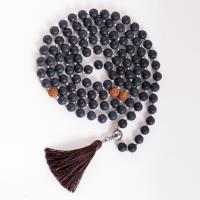 Mala of knowledge in jewelry box Obsidian and Rudraksha volume-elastic