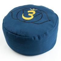 Meditation Cushion Third Eye Chakra Blue filled with buckwheat 36 x 15 cm