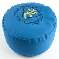 Meditation Cushion Throat Chakra Turquoise filled with buckwheat 36 x 15 cm