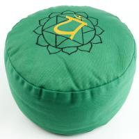 Meditation Cushion Heart Chakra with buckwheat filled 36 x 15 cm