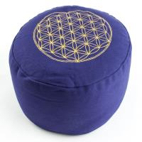 Meditation Cushion Flower of Life Purple filled with buckwheat 36 x 15 cm