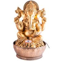 Indoor fountain Ganesha 40 cm synthetic resin. Inclusive adapter for pump and LED light