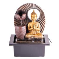 Indoor fountain Buddha 25 cm synthetic resin. Includes adapter for pump and LED light