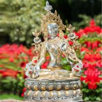 White Tara 36 cm Brass, silver plated