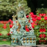 Green Tara 36 cm Brass, gold plated