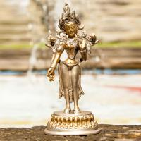 Green Tara 16 cm Brass silver plated