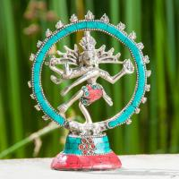 Shiva Nataraj 14 cm Brass, silver splated with stones