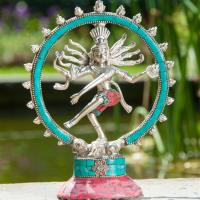 Shiva Nataraj 19,5 cm brass, silver splated with stones