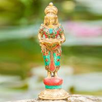 Lakshmi standing 14 cm Brass with stones