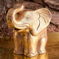 Elephant 25 cm Terracotta, gold ancient