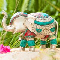 Elephant 20 cm Silver-plated brass, with turquoise and coral stones