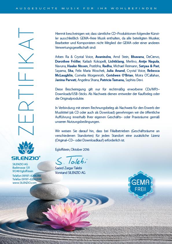 Zertifikat Gemafrei - SILENZIO AG